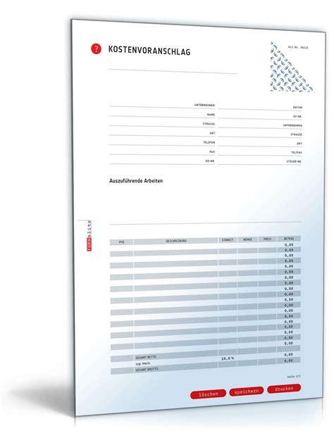 Angebot Machen Muster kostenvoranschlag inkl angebot muster zum