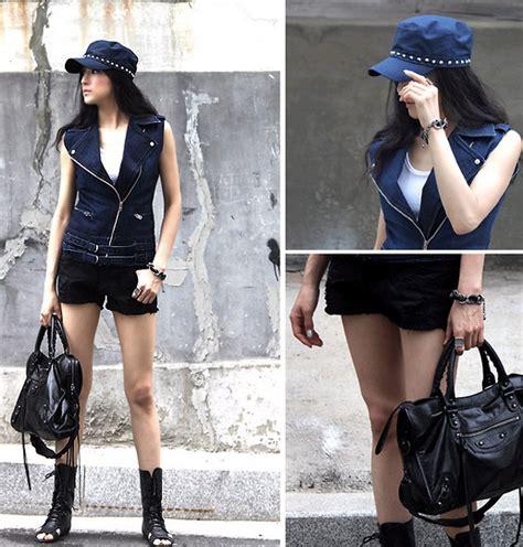 Becky Korean Bag becky baek navy stud army cap zipper vest gladiator