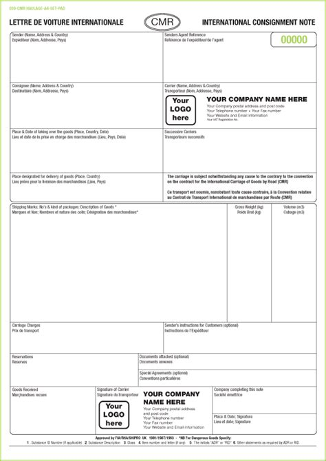 standard shipping note template cmr consignment note sets printed from 163 90 with free cmr