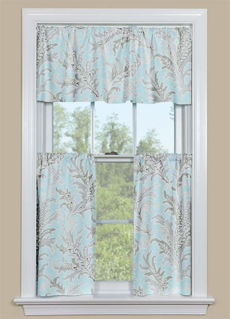 beach curtains for kitchen blue and grey beach themed kitchen curtain tempest floral
