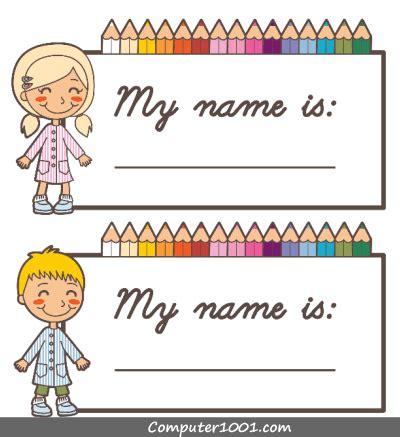 template label  kartu nama anak computer