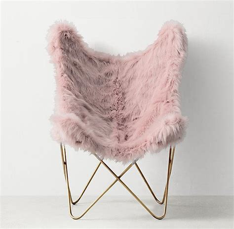 faux fur butterfly chair pink taper leg chair prints west elm