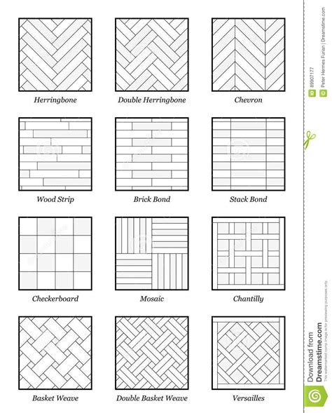 names of layout parquet patterns collection outline illustration stock