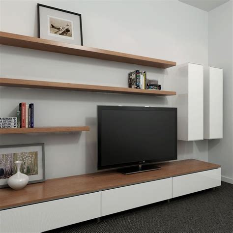 living room shelving unit opt for floating furniture design such as shelving