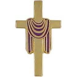 cross with purple drape purple draped cross pin gold plated