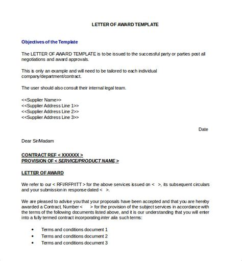 Award Letter To Successful Bidder Award Letter Template 13 Free Word Pdf Documents Free Premium Templates