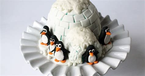 worth pinning igloo cake  gum paste penguins
