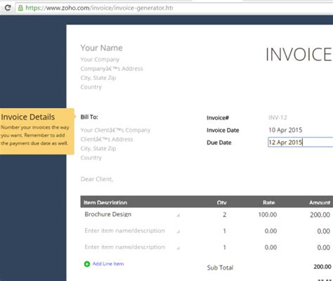 zoho invoice template 13 websites to create invoices using free invoice templates