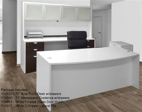 white woodgrain 4 piece office furniture package