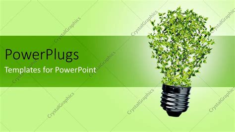 energy powerpoint templates powerpoint template green bulb with leaves as a symbol of