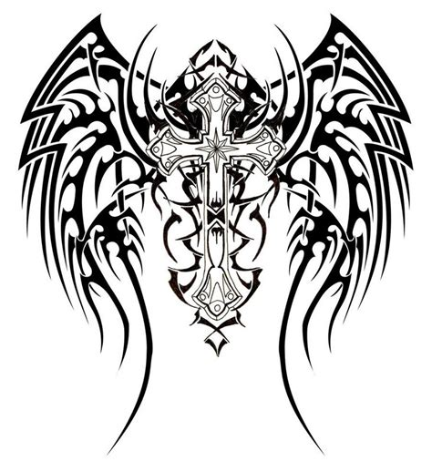angel wings and cross tattoo designs unique tribal wings cross design expo