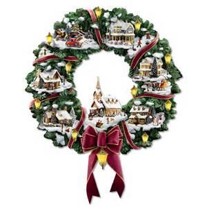 the thomas kinkade illuminated christmas village wreath