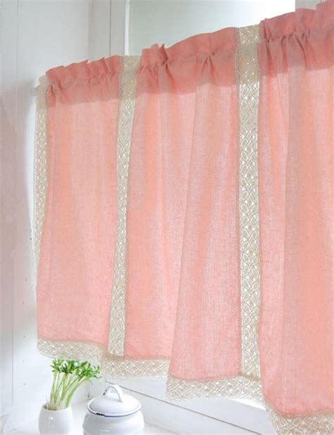 country pink cotton linen cafe kitchen curtain lace