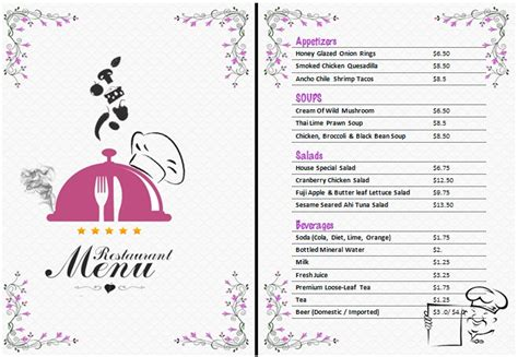 word templates for a menu restaurant menu template microsoft word world of
