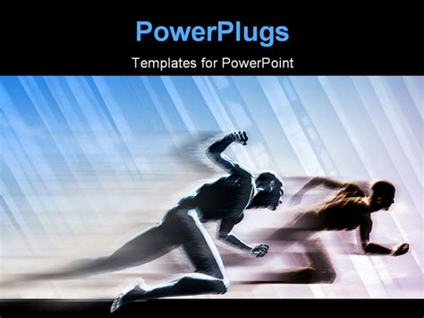 two people running in competition powerpoint template