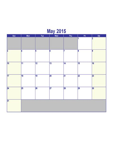 may 2015 calendar template free download