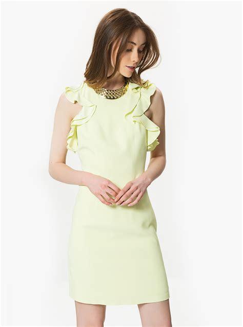 Y Zahrina Blouse Dress sleeves blouse detailed yellow midi dress