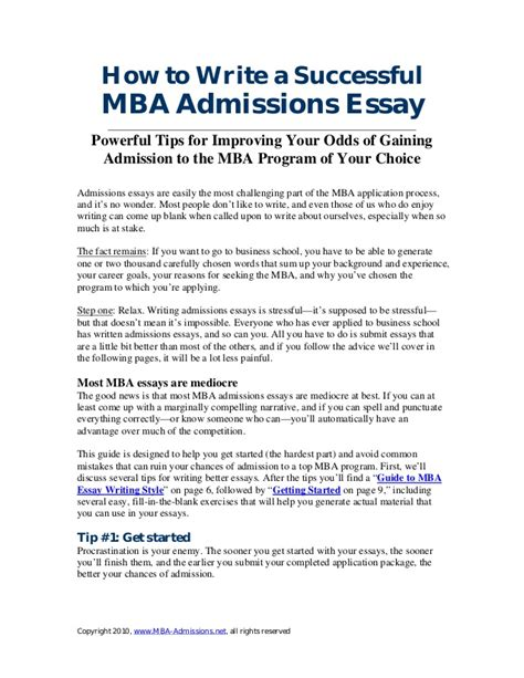 Admission Essay Exle For Mba by Mba Essay Writingguide