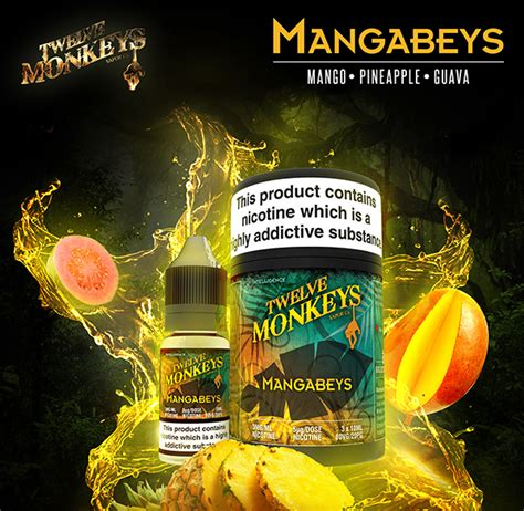 Mango 30ml 3mg Liquid Premium Vape Screaming Inc twelve monkeys mangabeys cloudz vapour