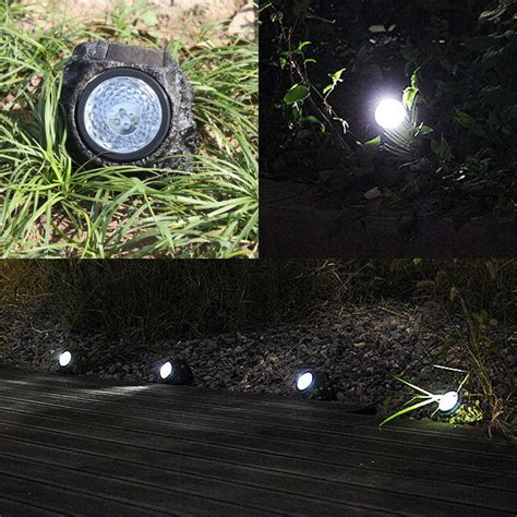 Solar Rock Lights For Garden Solar Powered 4 Led Rock Light L Rock Spotlight Outdoor Garden Decor Ebay