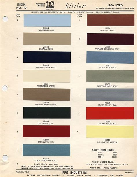 1966 ford mustang color chart with paint mixing codes maine mustang