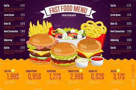 Fast Food Menu Template by Fast Food Menu Template Illustrations Creative Market