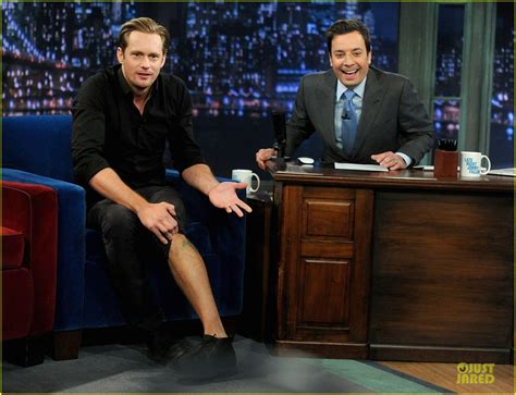 jimmy fallon tattoo sized photo of skarsgard leg on