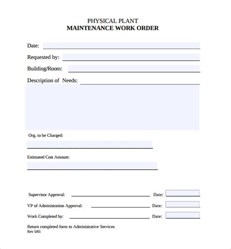 Maintenance Work Order Template Excel by Sle Maintenance Work Order Form 8 Free Documents In Pdf
