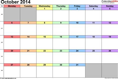 2014 October Calendar Calendar October 2014 Uk Bank Holidays Excel Pdf Word