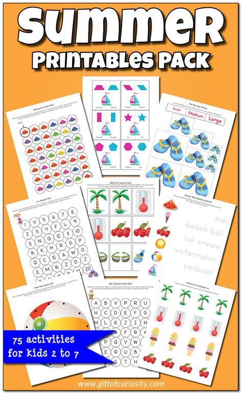printable preschool summer activities summer printables pack worksheets graphics and activities