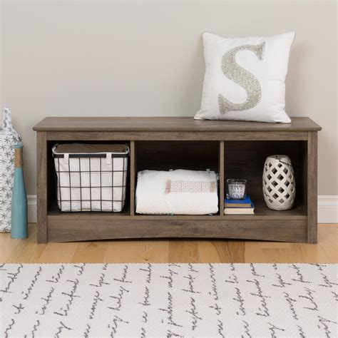 cubby storage bench prepac 48 in w x 20 in h drifted gray 3 cube organizer dsc 4820 the home depot
