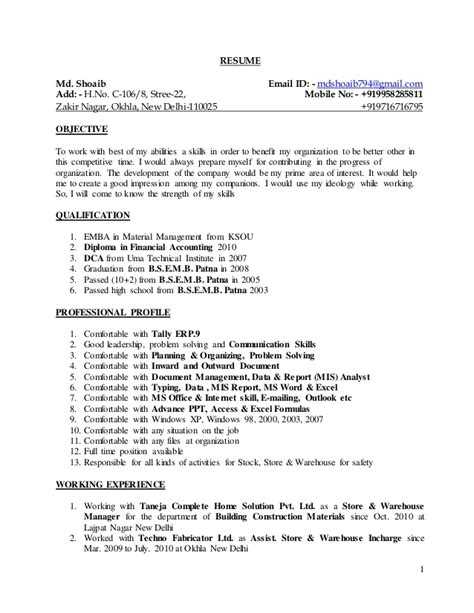 Building Resume by Resume Building Construction Materials