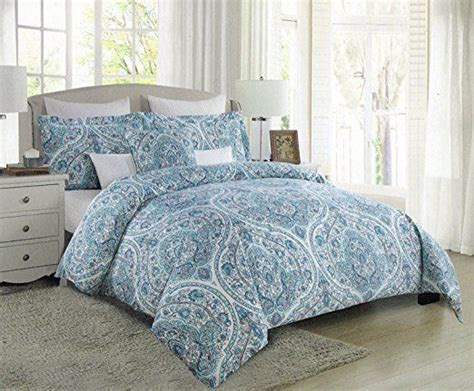 tahari bedding collection tahari home turquoise nolan paisley medallions 3pc full