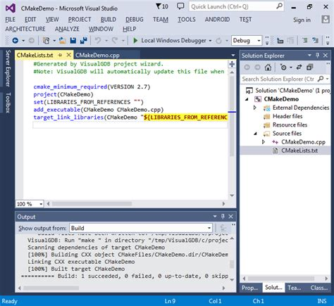 tutorial linux c creating cmake linux projects with visual studio