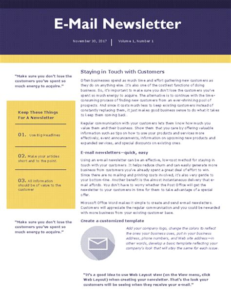 e mail newsletter office templates