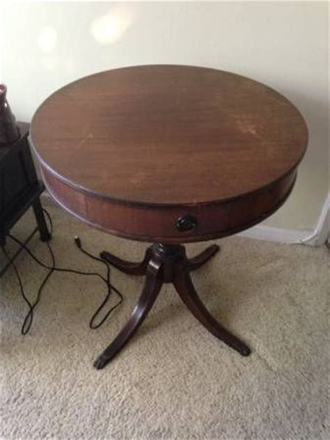 Imperial Furniture Grand Rapids by 1940 S Vintage Drum Table With Claw And One Drawer