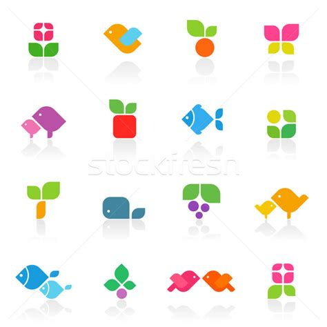colorful logo design elements vector set colorful nature elements for design vector logo template