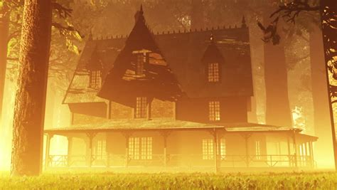 deep forest house music scary house in magic deep forest fairy tale scene 3d artwork stock footage video