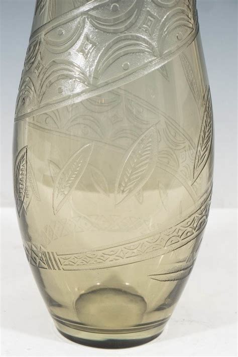 Smoked Glass Vase by Smoked Glass Vase With Snake Detail For Sale At 1stdibs