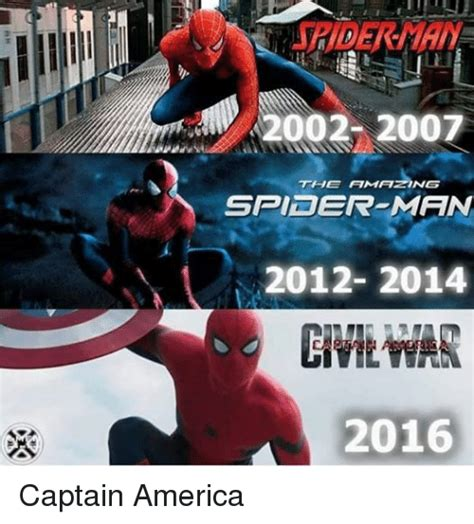 The Amazing Spiderman Memes - 2002 2007 the amazing spider man 2012 2014 2016 captain