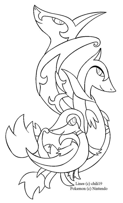 pokemon coloring pages of snivy snivy family lineart by chili19 on deviantart