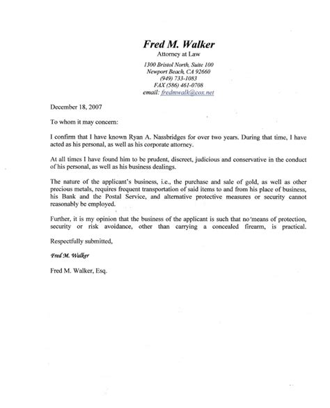 Character Letter Of Recommendation A Nassbridges Character Reference From Attorney Fred Walker