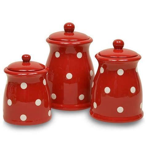 red ceramic canisters for the kitchen red ceramic canisters sets small canister red base with white dots ceramic more details