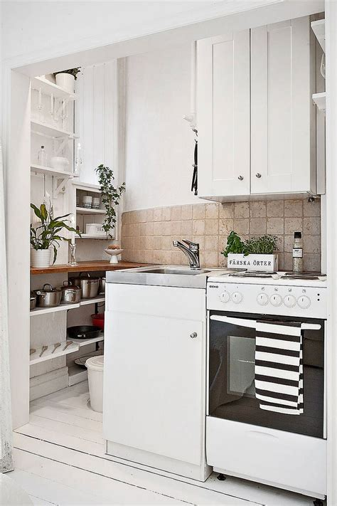 tiny kitchen 20 sqm apartment in stockholm with scandinavian design