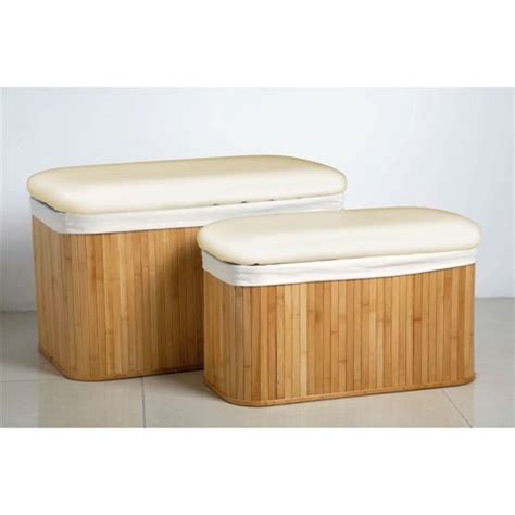 bamboo storage bench set of 2 natural bamboo storage bench 163 69 95 go