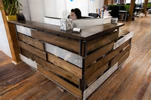 Home design reclaimed wood reception desk style compact reclaimed
