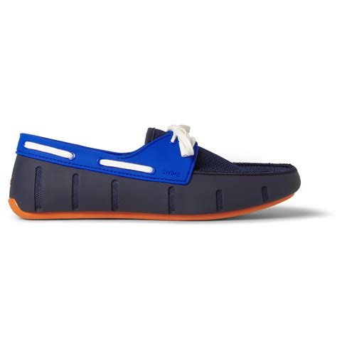 swims rubber and mesh boat shoes swims colourblock rubber and mesh boat shoes in blue for
