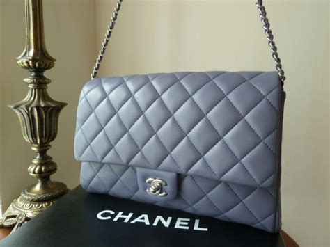 chanel large clutch with chain cwc flap bag in lavender lambskin with silver hardware sold