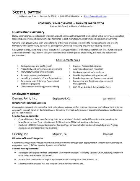 continuous improvement resume objective 28 images operational excellence resume process