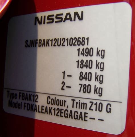 nissan micra 2006 serial number plate vin tag nissan